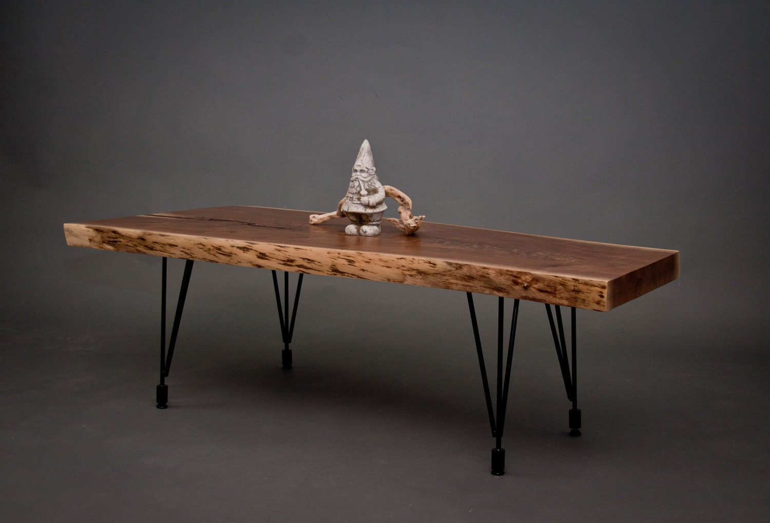 Black walnut coffee table natural rustic midcentury Rustic black coffee table