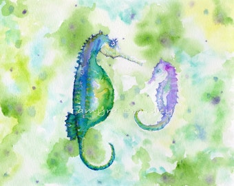 Mother and Child Seahorse ORIGINAL Watercolor by Tamyra Crossley.  8x10