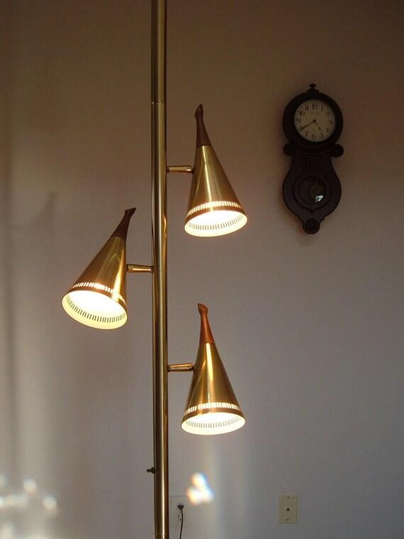 Vintage Atomic Eames Era Floor Lamp With Teak Wood Finials