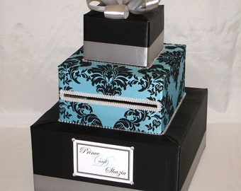 Black and Turquoise Damask Wedding Card Box-any colors