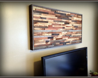 Wall Art - Modern Reclaimed Barnwood Art Wall Sculpture in Beautiful Mosaic Pattern