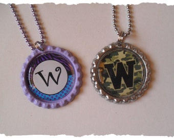 CLEARANCE Your Choice Of Initial W Bottlecap Necklace Pick your Style
