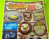 14 pc  COW GIRL card stock  Scrap booking stickers great for embellishments on cards and other projects