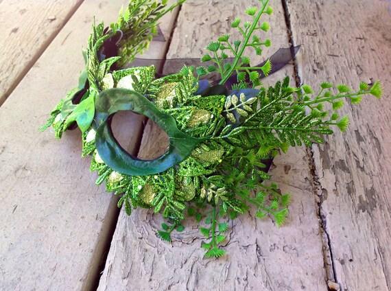 Elegant Spring Green Poison Ivy Fern Masquerade Mask.