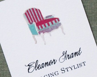 Business cards with French Bergere Chair Illustration - Set of 50