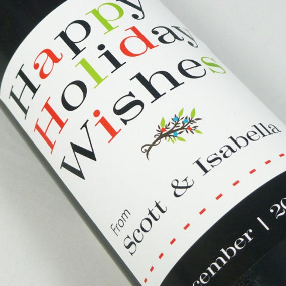 Items similar to christmas wine labels personalized