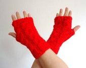 fingerless gloves Deep red wrist warmer.