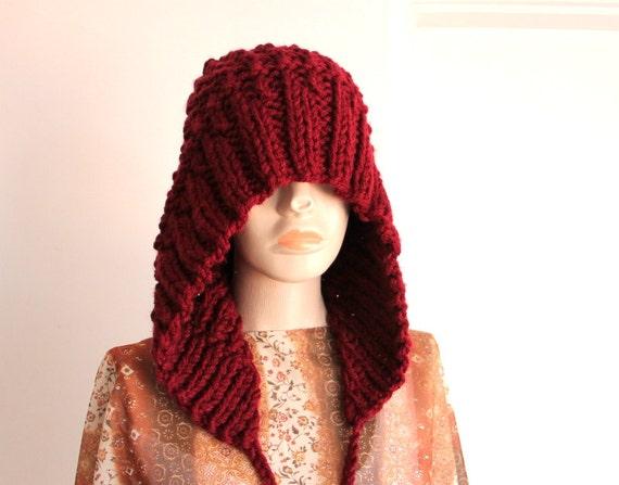 Beanie with Earflaps-Adult, Teen, Women,Men -   Oversized Hat - Burgundy - Knit - Winter Accessories