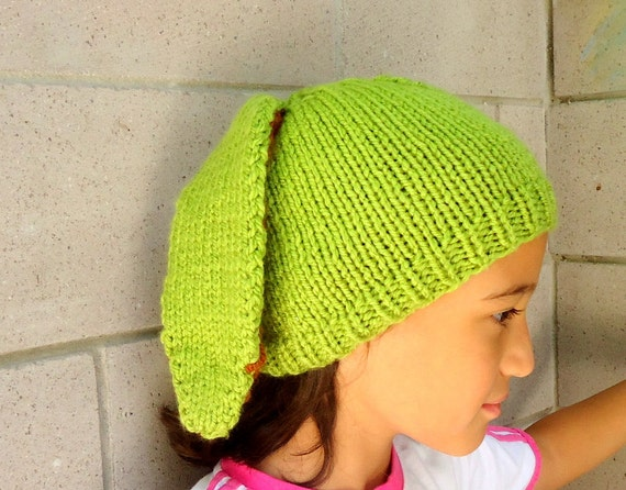 Children Hat - Easter  Bunny-  Rabbit Hat - Slouchy-Handknit - Green- 4 and 7 years  old hat