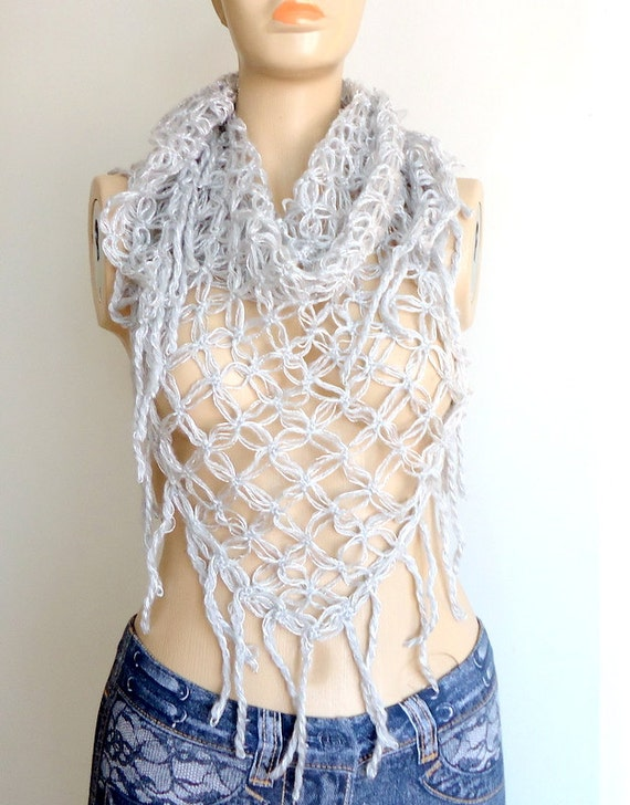 Gray Scarf   Shawl - Cowl Scarf with fringe  Edge- Mothers day gifts  Bridesmaids gifts-Silver Triangular Crochet Shawl.