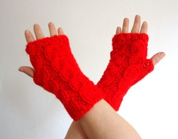fingerless gloves Deep red wrist warmer.