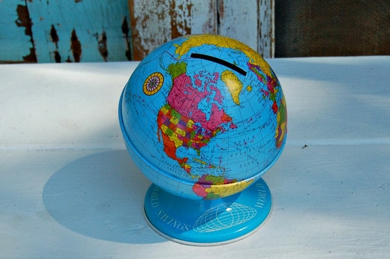 Vintage Ohio Art Company Tin Globe Bank