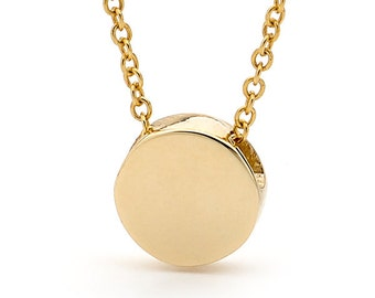 Disc Necklace, Small Baby Yellow Gold Disc Pendant on Yellow Gold cable chain