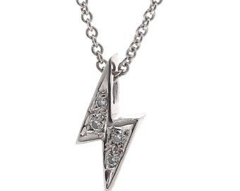 Solid White Gold and Diamond 'Baby Lightning Bolt' Necklace