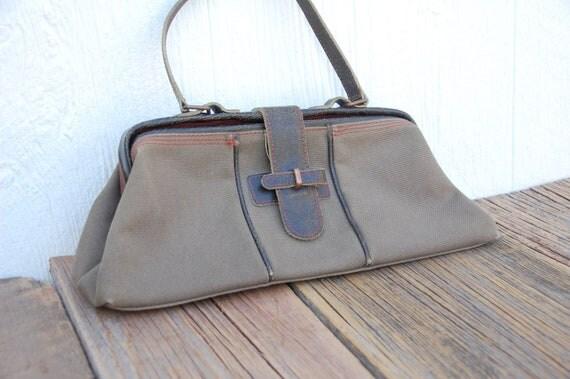 Vintage Latico Canvas & Leather Handbag Purse Cosmetic Bag