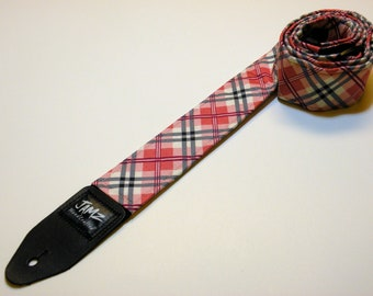 Pink Plaid Guitar Strap - Handmade - Pink and Blue - Preppy
