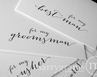 Groomsman Card, Best Man, Ring Bearer, Bridesmaid, Flower Girl, Wedding / House Party - Thank You Cards for Bridal Party (Set of 6) CS09