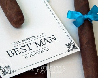 Groomsman Card, Cigar Card Will You Be My Groomsman, Your Service Is Requested as Best Man, Ring Bearer, Usher -Way to ask Groomsmen Wedding