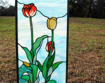 Spring Tulips, Blue Sky, Green Leaves, Stained Glass, Hanging Window Panel