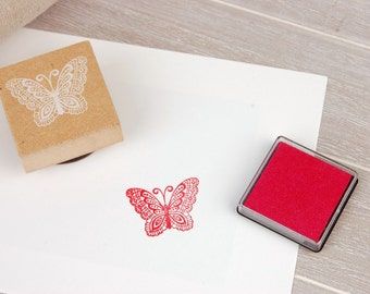 Wooden Rubber Stamp - Butterfly - 1 Stamp & 1 ink-pad