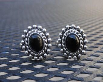 Elliptical Black Glass Cufflinks