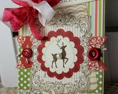 Shabby Chic Christmas Reindeer Peace on Earth handmade card stamped