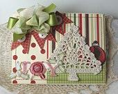 Shabby Chic Crocheted Christmas Tree Joy Ornament Holly handmade card