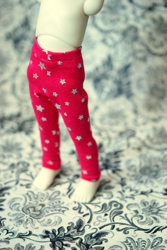 YoSD Clothes Hot Pink Star Leggings For BJD - Last Pair - RESERVED