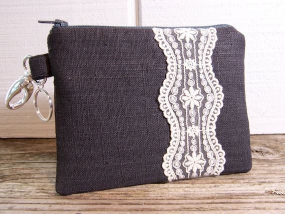 Clip on Case for a smaller camera or cell phone-gadget wallet in gray linen with pretty lace.