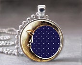 Moon and Stars, Gold and Navy, Altered Art Glass Dome Photo Pendant Necklace, No. 078-23