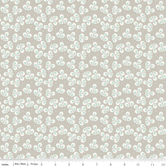 CLEARANCE Organic Gray and Green Leaf Fabric - Willow by Riley Blake One Yard