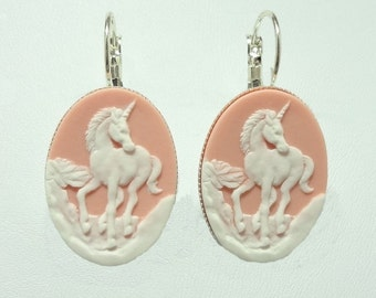Earrings with a White Unicorn on a Pink Colored Cameo on Lever Back Hooks