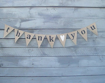 THANK YOU Burlap Banner Bunting with White Glittered Heart - wedding garland - photography prop