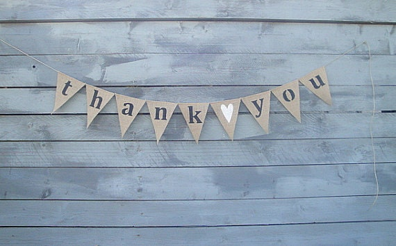 thank you burlap banner bunting with white glittered heart Wedding Thank You Bunting Uk request a custom order and have something made just for you thank you bunting uk