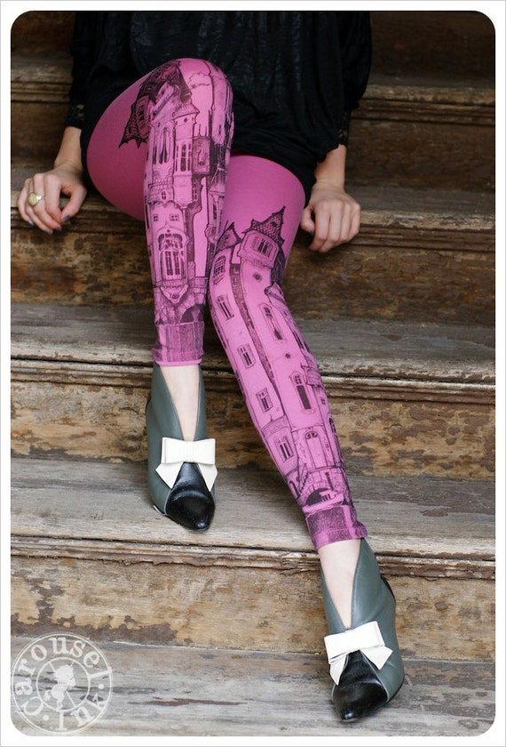 Victorian City Leggings - PINK Legging -  tights - LARGE