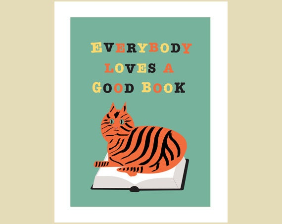 Books poster with cat retro style 11 x 14 by visuaria on etsy for Vintage sites like etsy