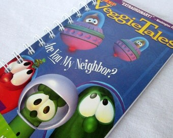 Upcycled Notebook/Recycled Notebook from a Veggie Tales Are You My Neighbor VHS box, 50 sheets/100 pages