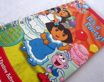 Upcycled Notebook/Recycled Notebook from A Dora the Explorer: It's a Party VHS box, 50 sheets/100 pages