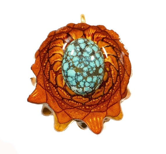 TURQUOISE INLAY (Med) Third Eye Pinecone Talisman Necklace