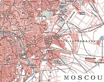 Vintage City Map Moscow Street Plan 1920s Russia