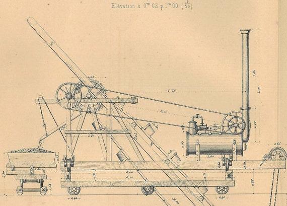 1872  Locomobile Dredge  Antique Technical  Drawing Civil Engineering