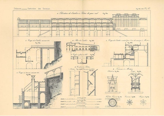 Elevation And Plan In Engineering Drawing : Antique technical drawing concrete by carambasvintage