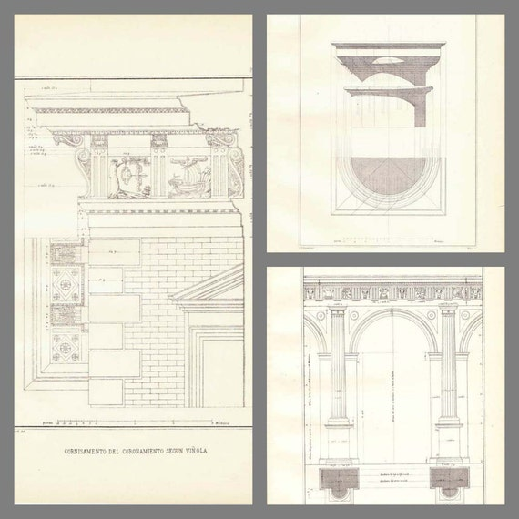 Items similar to architect drawings by vignola set of 3 for Printing architectural drawings