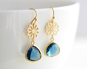 30% OFF, Daisy, Sapphire earrings, Gold earrings, Flower earrings, Christmas gift, Valentines gift, Clip earrings, Anniversary gift, Gold