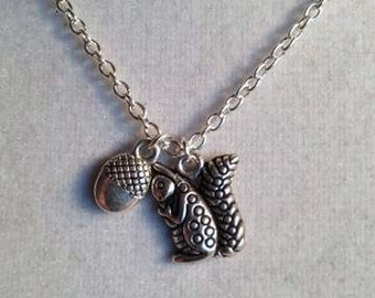 Squirrel Necklace Acorn Charm Silver Jewelry Chain Jewellery Children Nature Everyday Pendant Drop