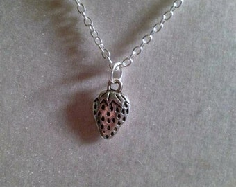 Strawberry Necklace - Silver Jewelry - Children Jewellery - Charm - Nature Fruit Everyday Pendant Drop
