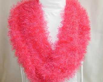 Bright Pink Handknit Cowl Scarf - Teen thru Women Loop Scarf - Sparkly Bright Pink Yarn - Womens' Accessory - Light Weight Cowl Wrap - Gift