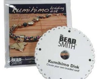 1 pc Original Bead Smith Kumihimo disk foam White and Black 6-inch round with 1-1/2 inch inside hole and 32 slots.