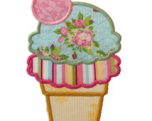 Applique Double Scoop Ice Cream Cone With A Cherry Machine Embroidery Design - 4 Sizes