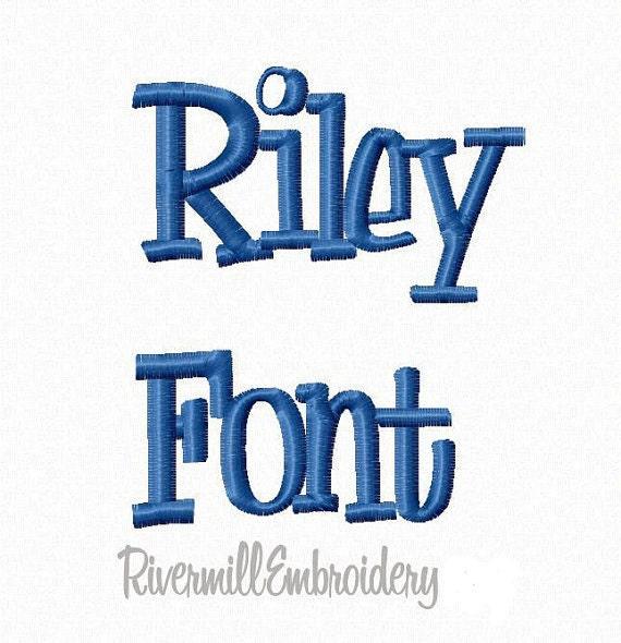 Riley Machine Embroidery Font Monogram Alphabet - 3 Sizes